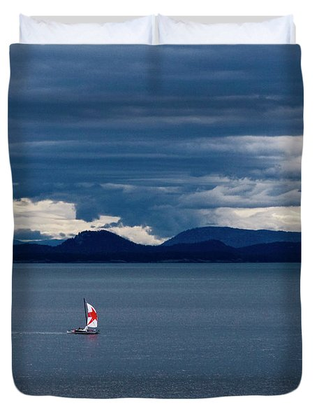 Duvet Cover featuring the photograph Red Star Sail by Lorraine Devon Wilke