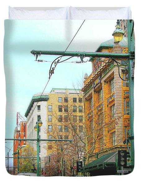 Duvet Cover featuring the photograph Red Trolley Green Trolley by Lizi Beard-Ward