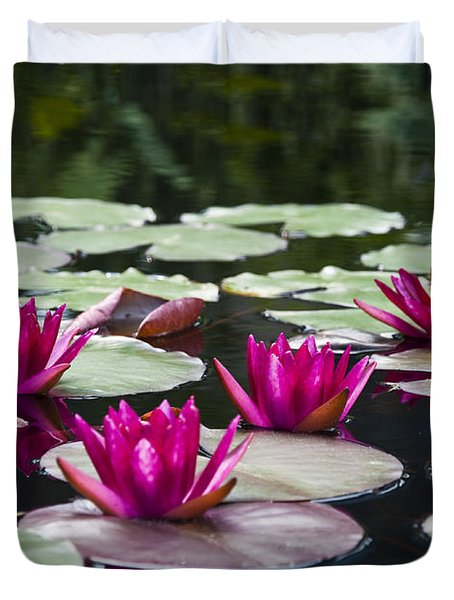 Red Water Lillies Duvet Cover