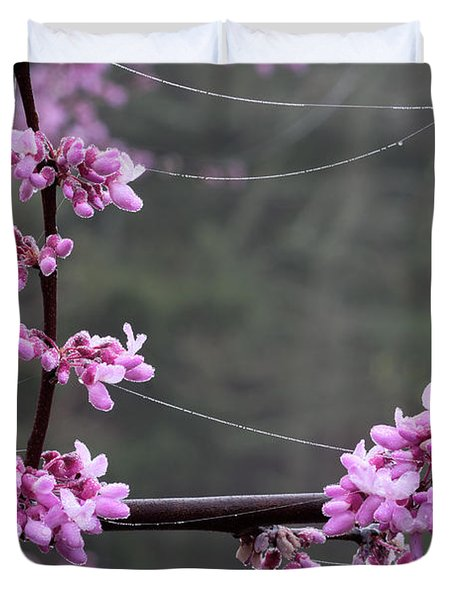 Redbud With Webs And Dew Duvet Cover