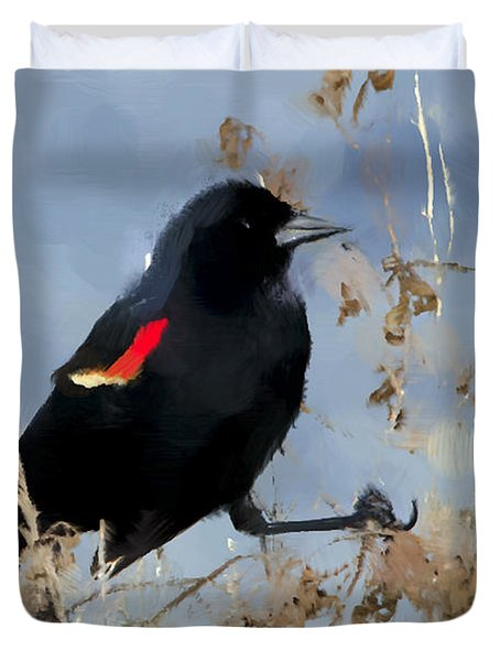 Redwing Blackbird Duvet Cover by Betty LaRue