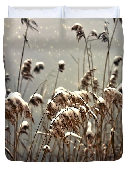 Reed In Snow Duvet Cover by Joana Kruse