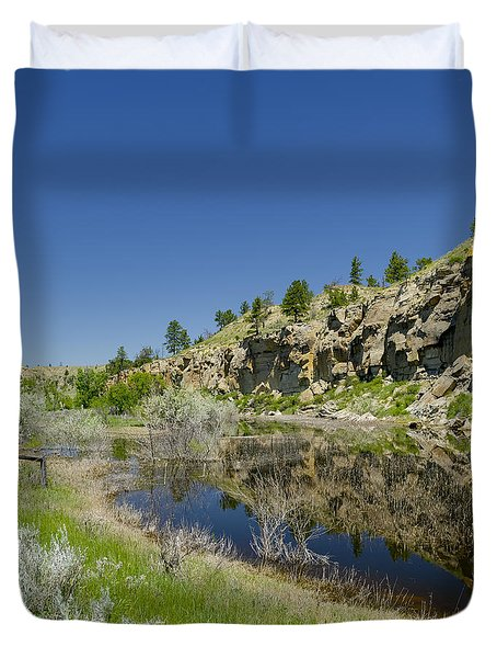 Reflecting Cliffs Duvet Cover by Roderick Bley