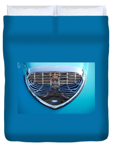 Duvet Cover featuring the photograph Reflecting Ford by John Schneider