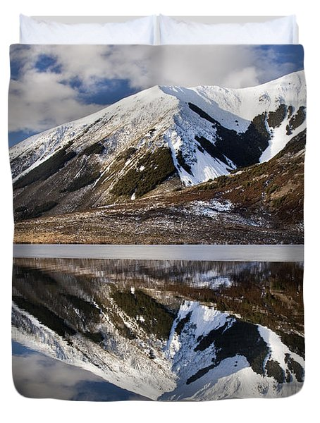 Reflection In Lake Pearson, Castle Hill Duvet Cover by Colin Monteath