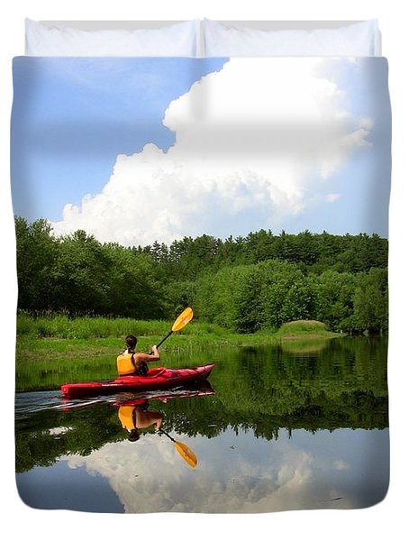 Reflection Of A Kayaker On The Merrimack Duvet Cover by Rick Frost