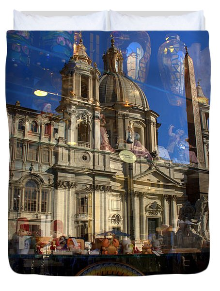 Duvet Cover featuring the photograph Reflection Piazza Navona by Caroline Stella