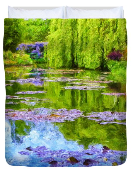 Reflections At Giverny Duvet Cover by Dominic Piperata