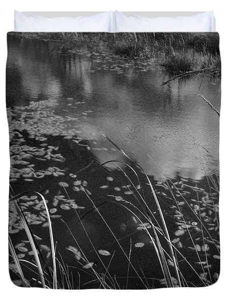 Duvet Cover featuring the photograph Reflections In The Pond by Kathleen Grace