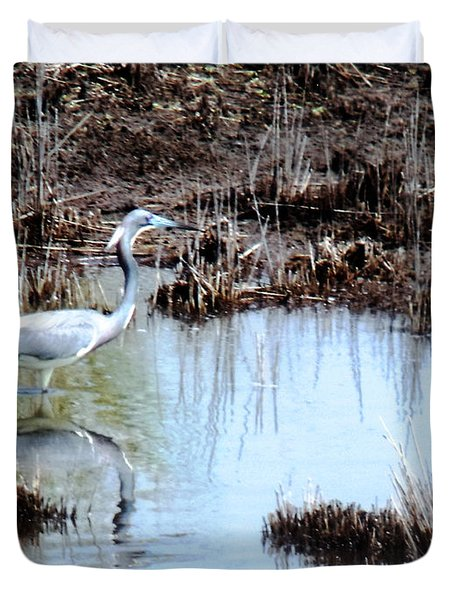 Reflections Of A Blue Heron Duvet Cover