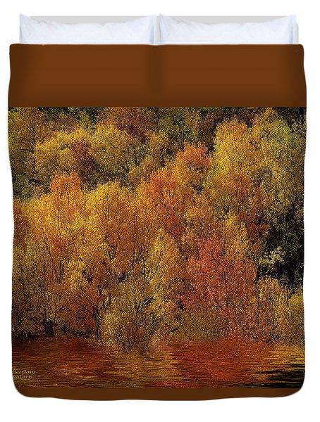 Reflections Of Autumn Duvet Cover by Carol Cavalaris