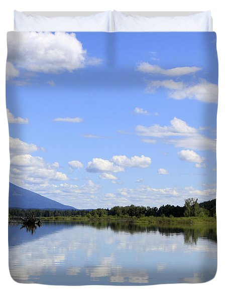 Duvet Cover featuring the photograph Reflections On Swan Lake by Nina Prommer