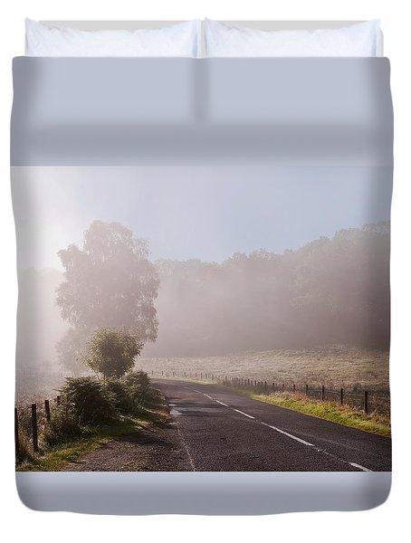 Refreshing Morning Fog In Trossachs. Scotland Duvet Cover by Jenny Rainbow