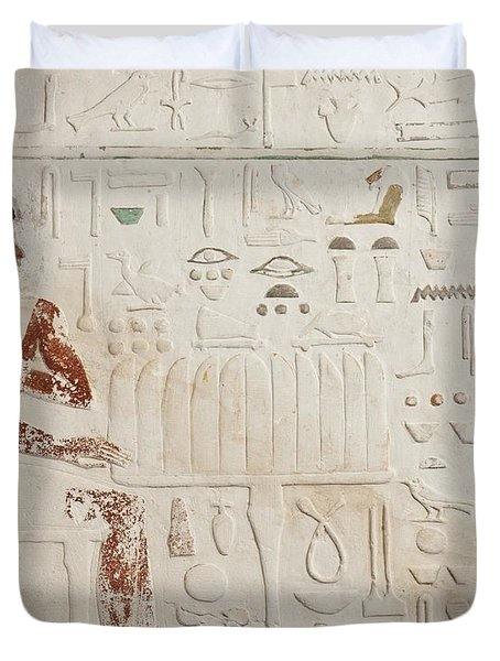 Relief Of Ka-aper With Offerings - Old Kingdom Duvet Cover by Egyptian fourth Dynasty