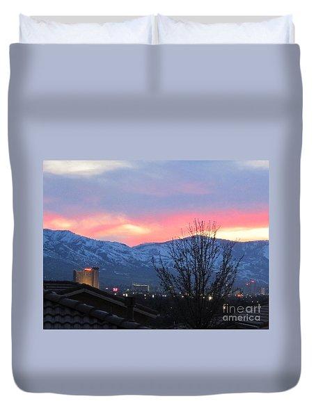 Reno At Night Duvet Cover by Phyllis Kaltenbach