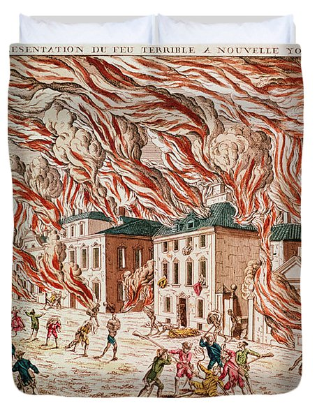 Representation Of The Terrible Fire Of New York Duvet Cover by French School