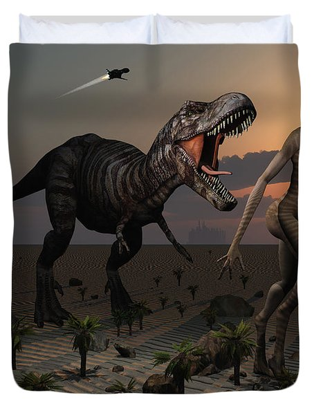 Reptoids Tame Dinosaurs Using Telepathy Duvet Cover by Mark Stevenson