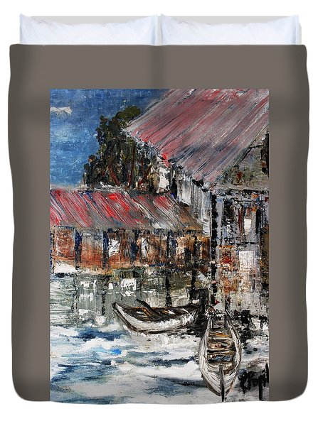 Duvet Cover featuring the painting Resting by Evelina Popilian