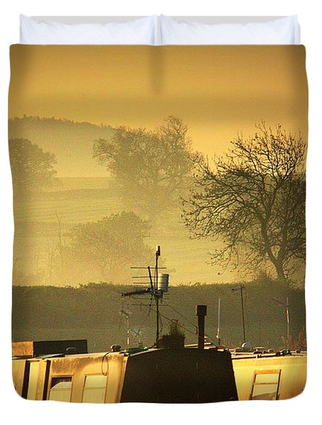 Resting Narrowboats Duvet Cover by Linsey Williams