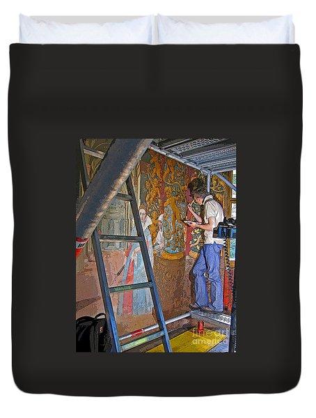 Duvet Cover featuring the photograph Restoring Art by Ann Horn