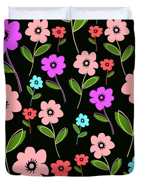 Retro Florals Duvet Cover by Louisa Knight