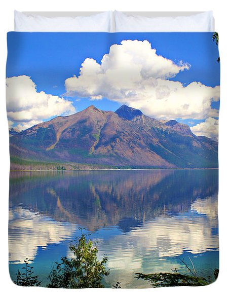 Rflection On Lake Mcdonald Duvet Cover by Marty Koch