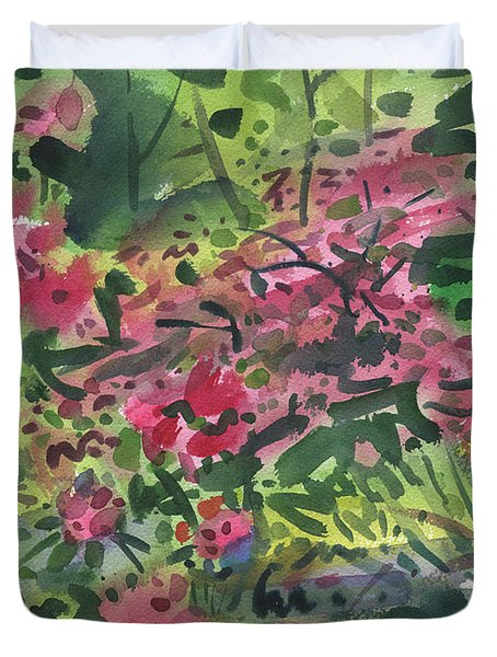 Duvet Cover featuring the painting Rhododendrons And Azaleas by Donald Maier