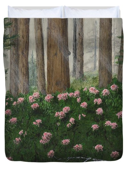 Rhododendrons And Redwoods Duvet Cover