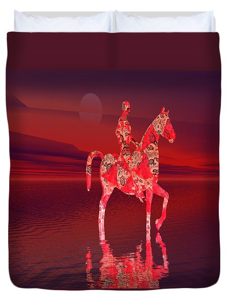 Riding At Dusk Duvet Cover by Matthew Lacey