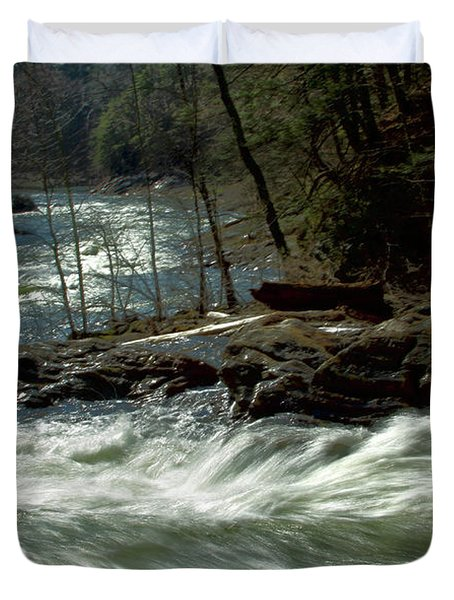 Riding The River Duvet Cover by Karol Livote