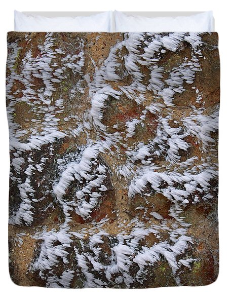 Rime-covered Brick And Stone Wall Duvet Cover by Mark Taylor