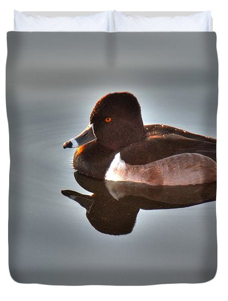Duvet Cover featuring the photograph Ring-necked Duck by Tam Ryan