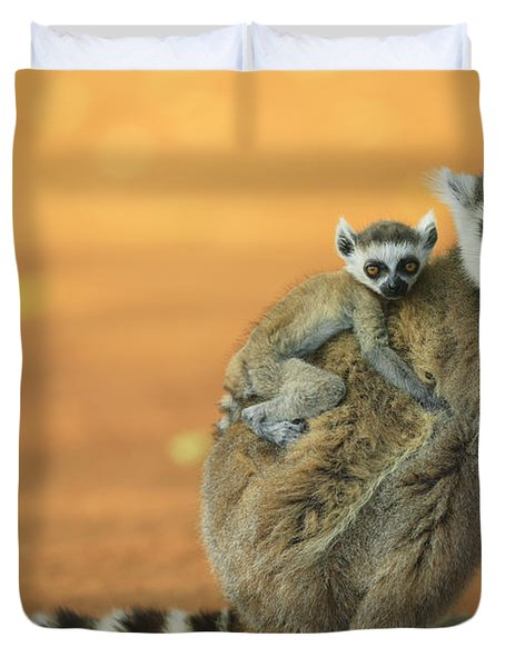 Ring-tailed Lemur Mother And Baby Duvet Cover by Cyril Ruoso