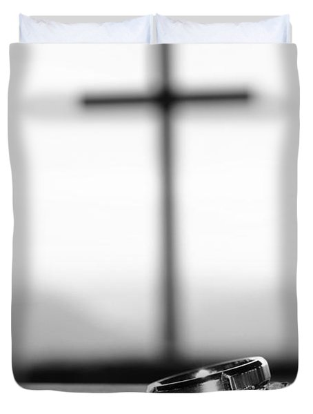 Rings And Cross Duvet Cover by Kelly Hazel