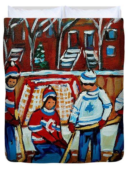 Rink Hockey Montreal Street Scenes Duvet Cover by Carole Spandau