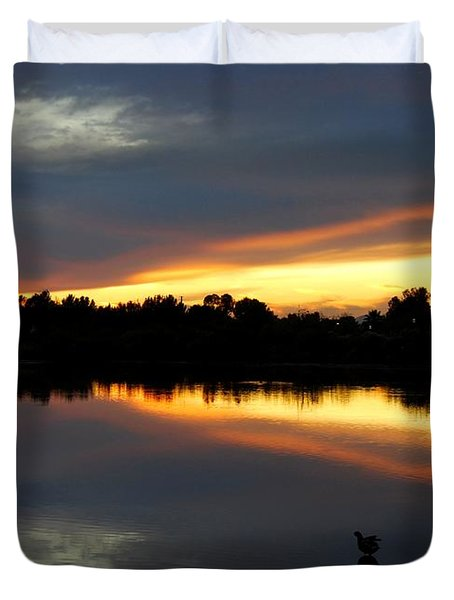 Duvet Cover featuring the photograph Riparian Sunset by Tam Ryan