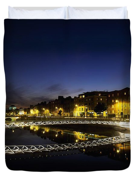 River Liffey, Millenium Footbridge At Duvet Cover by The Irish Image Collection