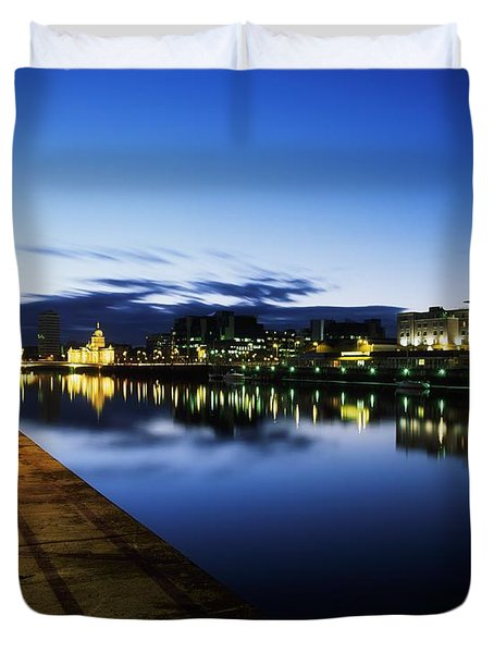 River Liffey, Sunset, View Of Customs Duvet Cover by The Irish Image Collection