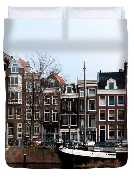 Duvet Cover featuring the digital art River Scenes From Amsterdam by Carol Ailles