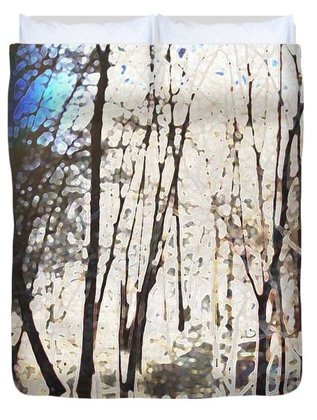 Duvet Cover featuring the photograph River Trees by Donna  Smith