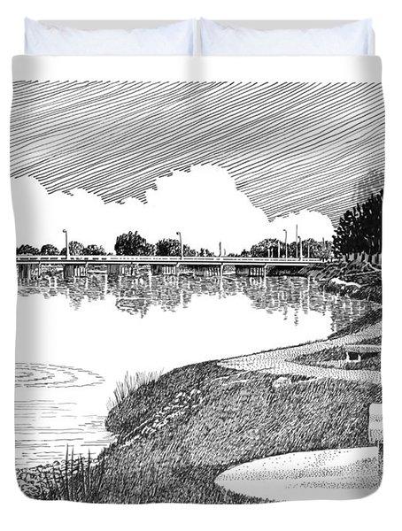 Riverwalk On The Pecos Duvet Cover by Jack Pumphrey