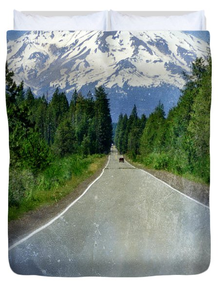 Road Leading To Snow Covered Mount Shasta Duvet Cover by Jill Battaglia