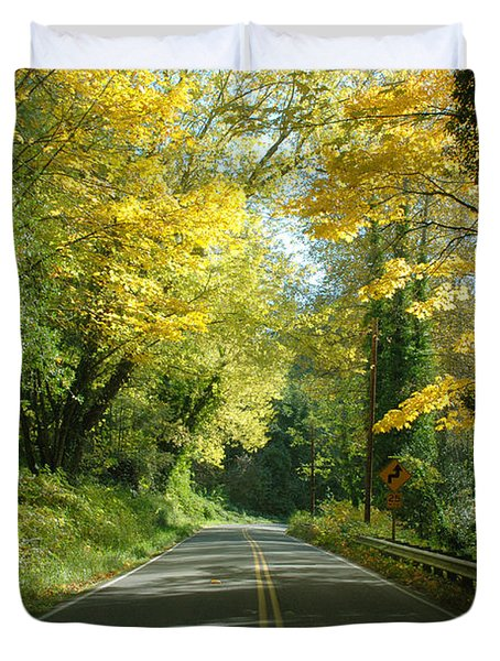 Road Through Autumn Duvet Cover by Kathleen Grace