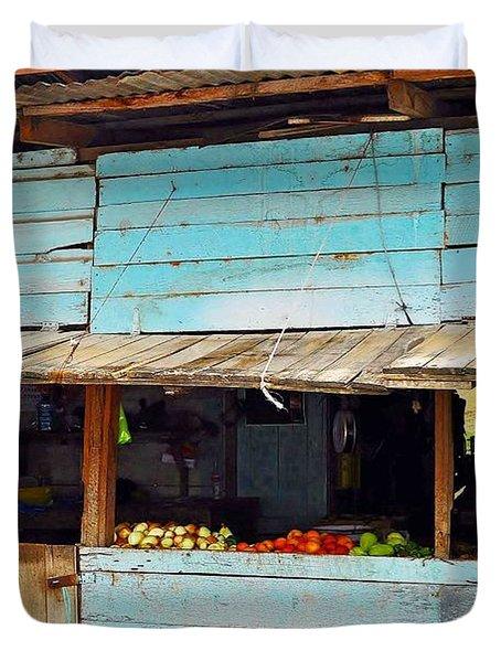 Roadside Fruit Stand- Belize Duvet Cover by Li Newton