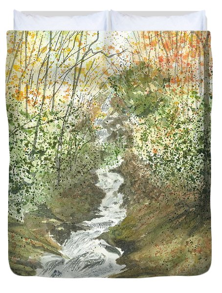 Duvet Cover featuring the painting Roaring Fork Falls  by Joel Deutsch