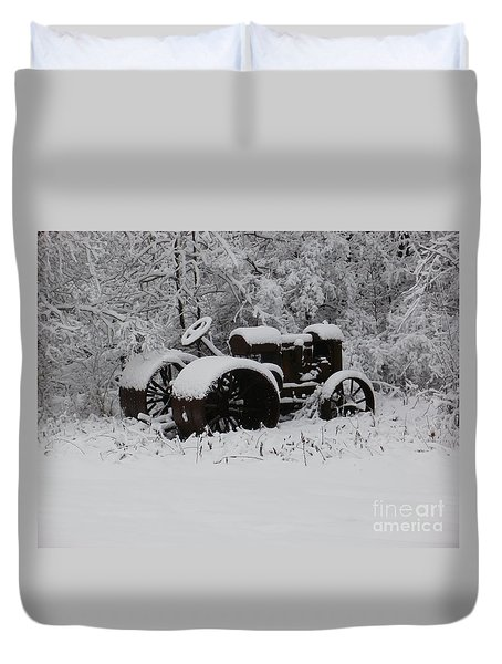 Duvet Cover featuring the photograph Robed In White by Christian Mattison