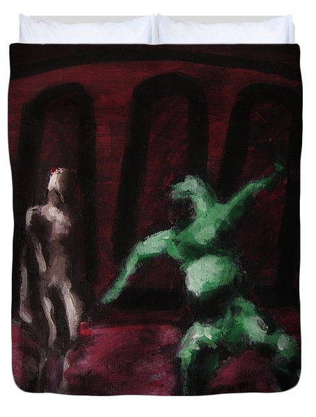 Robot Chewbacca Fight Colosseum In Red Green And Pink Duvet Cover