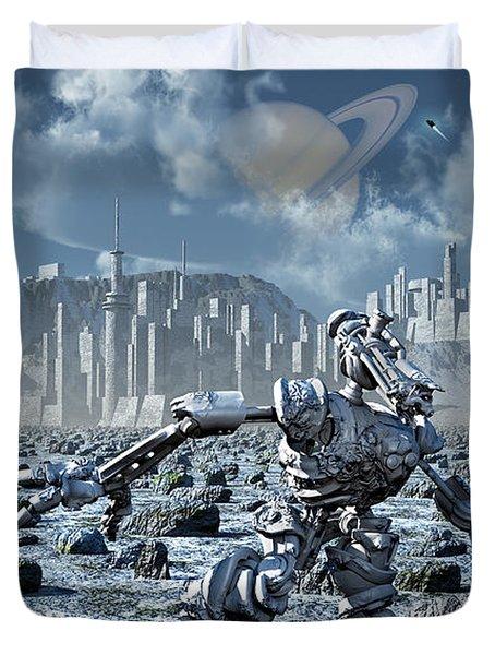Robots Gathering Rich Mineral Deposits Duvet Cover by Mark Stevenson