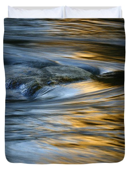 Rock And Blue Gold Water Duvet Cover