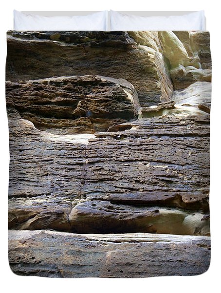 Duvet Cover featuring the photograph Rock Art by Milena Ilieva